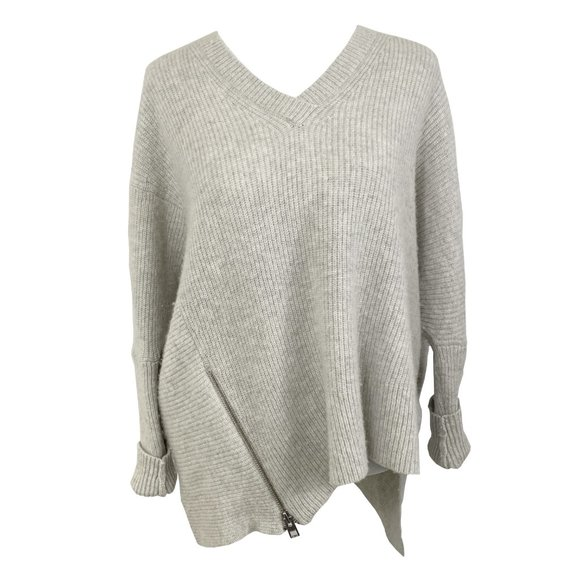 All Saints Able Zip Jumper Asymmetrical Sweater S
